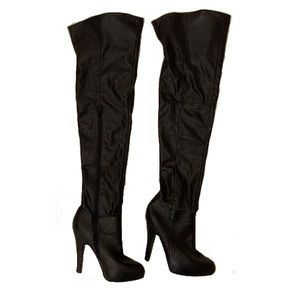 ALDO Thigh High black zip up leather heels boots 7